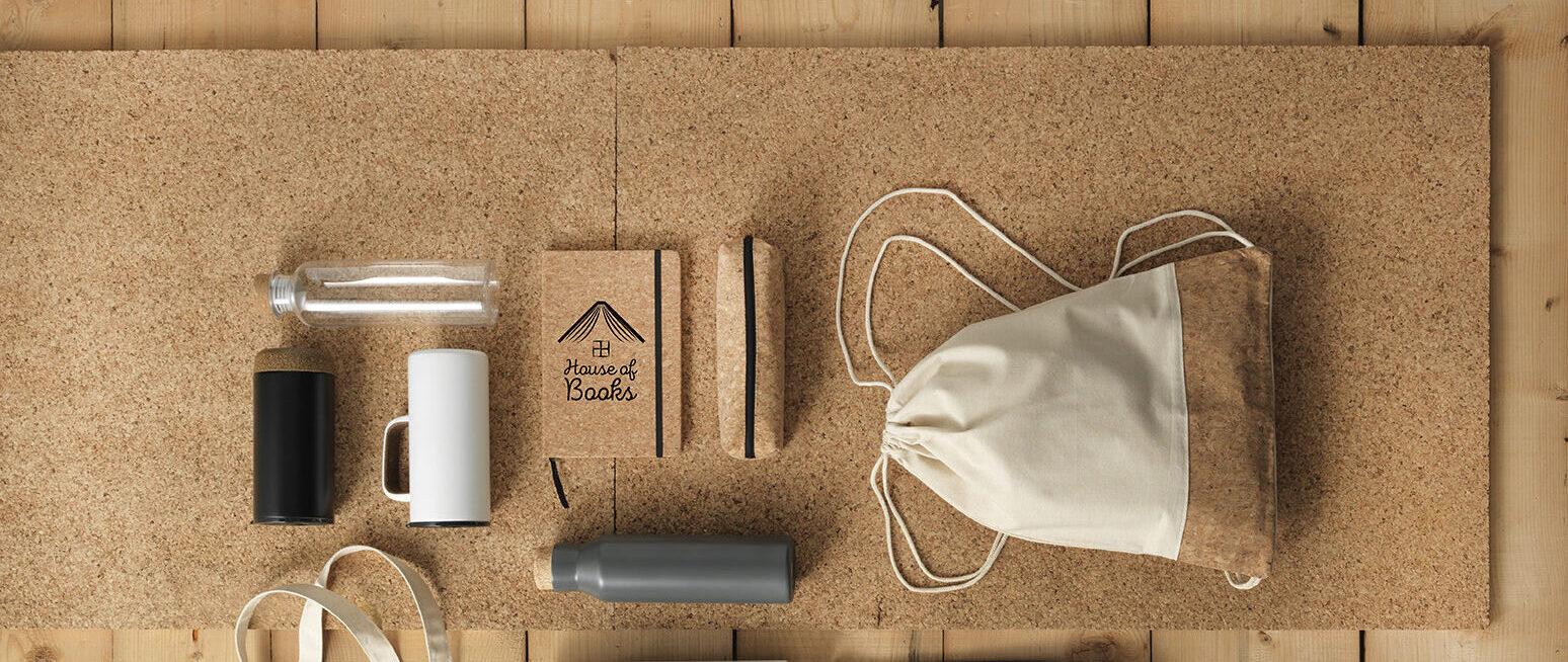 Productos promocionales fabricados a partir del corcho.